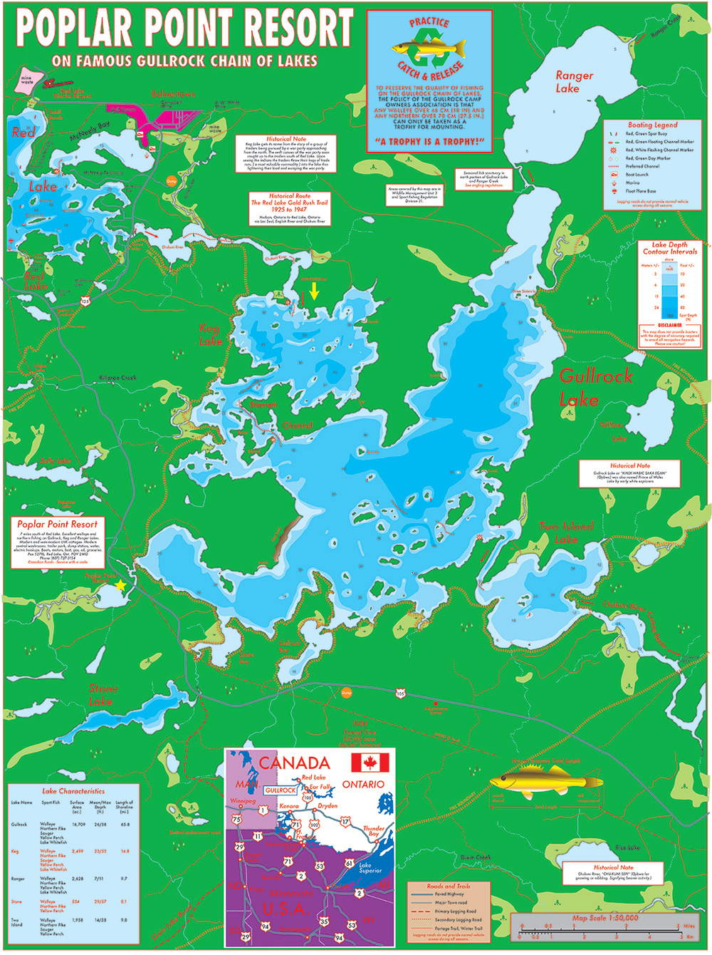 Gullrock Lake Map | Poplar Point Resort on